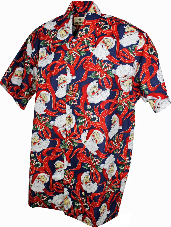 Christmas Hawaiian Shirt.Childrens Hawaiian Shirt Vintage Santa Kids