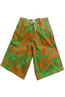 Hibiscus Lime Green and Orange Bermuda Shorts