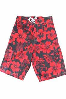 Hibiscus Red and Black Bermuda Shorts